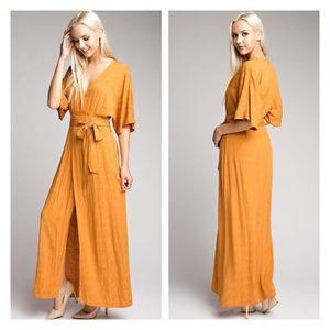Mustard faux wrap kimono sleeve maxi dress